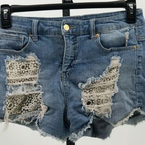 Mossimo high rise short shorts distressed lace 8